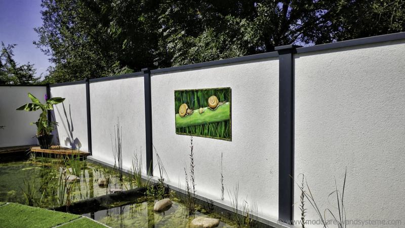 Acrylbilder-Schnecken-von-Andrea-Bastuck-auf-Modulare-Wandsysteme