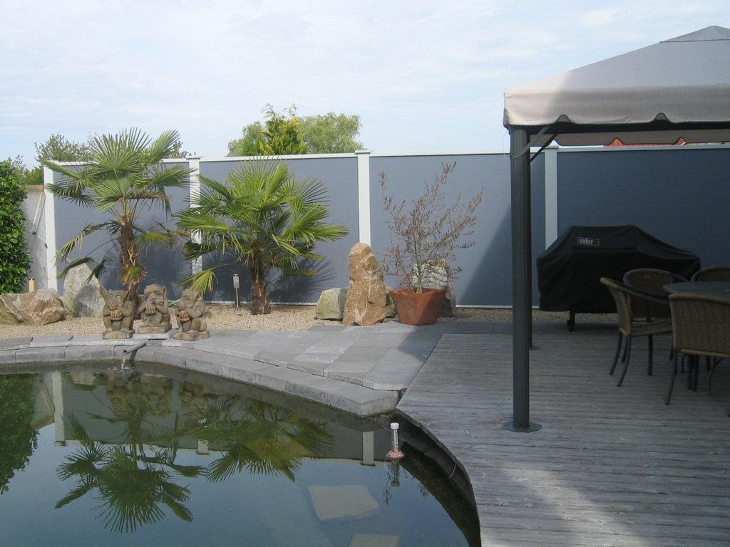 Bildergalerie laermschutz sichtschutz windschutz for Quick up pool 120 hoch